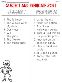 Subject and Predicate Sort Halloween Themed