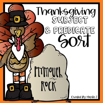 Subject and Predicate Sort Thanksgiving Themed