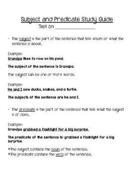Subject and Predicate Study Guide with Practice Worksheets
