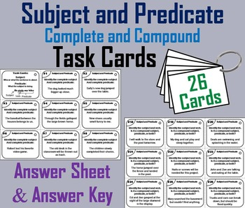 Subject and Predicate Task Cards (Complete and Compound) 3rd 4th 5th 6th Grade
