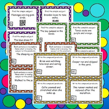 Subject and Predicate Task Cards - Worksheets - Activity
