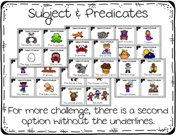 Subject and Predicate Task Cards for Kindergarten with Anchor Charts & Games