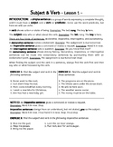 Subject and Predicate, Verb, Direct Object. 8 Lessons + 2