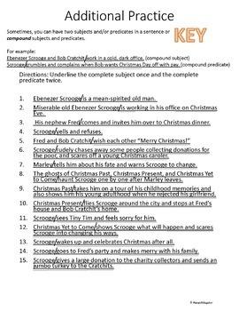 A Christmas Carol Subject and Predicate Worksheets