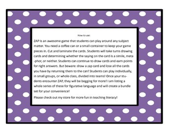 Subject and Predicate ZAP Game for Students ELA center