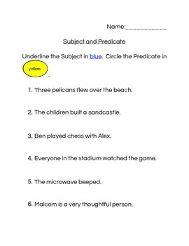 Subject and Predicate workheet