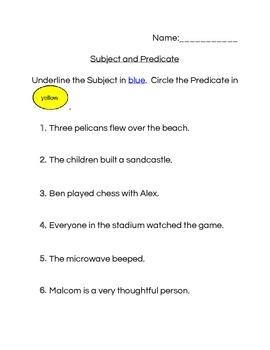 Subject and Predicate workheet
