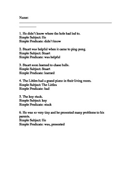Subject and Predicate worksheet. Diagraming a sentence