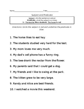 Subject and Predicates