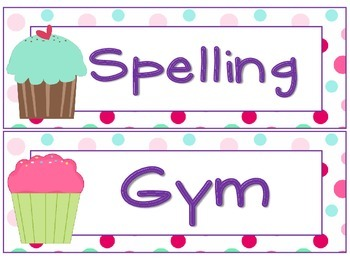Subject and Room Labels Cupcake Theme Special Order