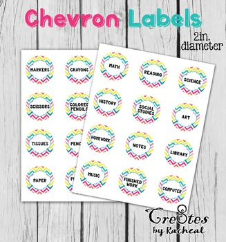 Subject and Supply Labels Chevron 2 in Circles Classroom Bin organization