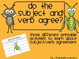 Subject and Verb Agreement Activities