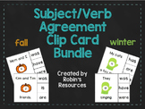 Subject and Verb Agreement Clip Cards: fall and winter bundle