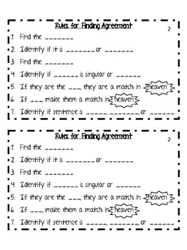 Subject and Verb Agreement Differentiated Interactive Notes