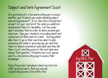 Subject and Verb Agreement Scoot