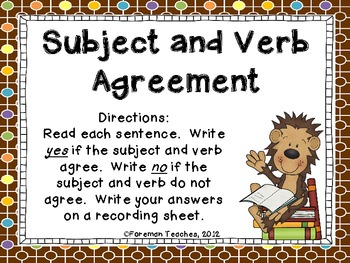 Subject and Verb Agreement Task Cards
