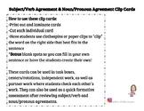Subject and Verb & Noun and Pronoun Agreement Clip Cards