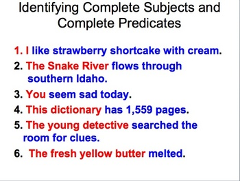 Subject and predicate Sentence Structure PowerPoint and Interactive Notebook