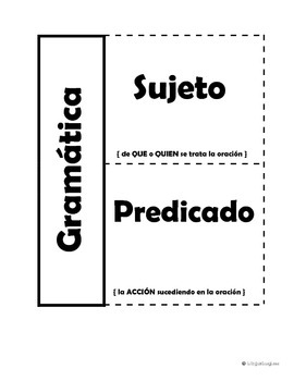 Subject and predicate foldable in SPANISH & ENGLISH