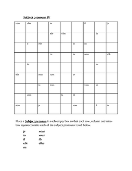 Pronoms sujets (Subject pronouns in French) Sudoku