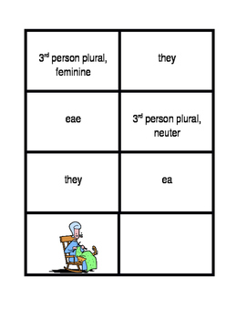 Subject pronouns in Latin Concentration games