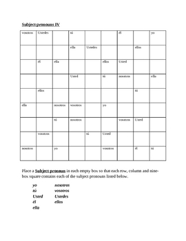 Pronombres de sujeto (Subject pronouns in Spanish) Sudoku