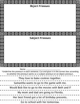 Subject vs. Object Pronoun Sentence Sort