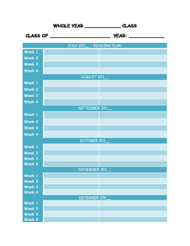 Subject whole year planner
