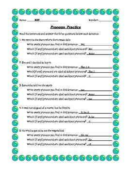 Subject/Object Pronoun Practice Worksheet and Key