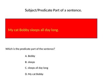 Subject/Predicate Parts of a Sentence