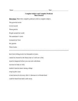 Complete Subject and Complete Predicate Practice Sheet