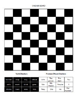 Subject/Verb Agreement Checkers Game