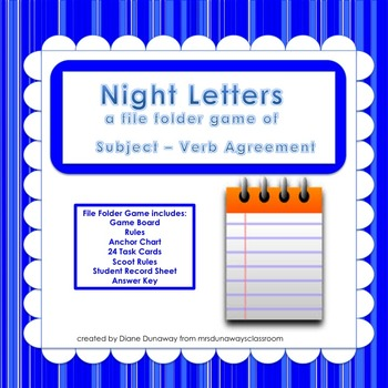 Subject/Verb Agreement:  Night Letters