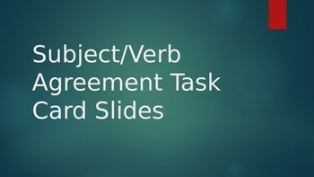 Subject/Verb Agremment Task Card Powerpoint for Stations, Daily 5, or DIY's
