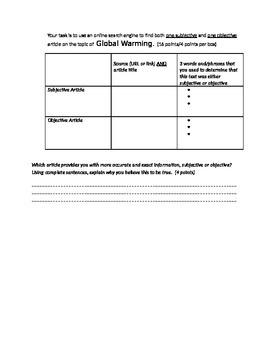 Subjective, Objective & Author's Bias Quiz