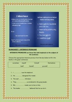 Subjective, Objective, Possessive, Intensive & Reflexive Pronouns Bundle