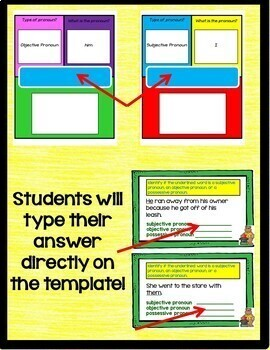 Subjective, Objective, and Possessive Pronouns Google Drive Activities L.6.1.A
