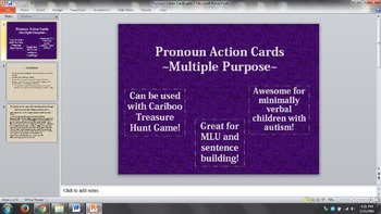 Pronoun/Verb Cards for Cariboo Treasure Hunt Game and Sentence Building