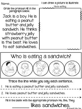 Subjective Pronoun Practice Pages