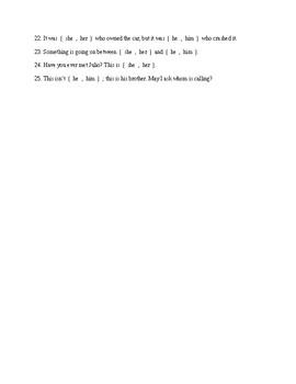 Subjective vs. Objective Pronouns Test
