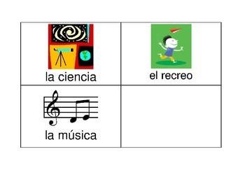 Subjects/ Classes in School Cards - SPANISH