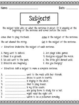 Subjects! Practice Worksheet