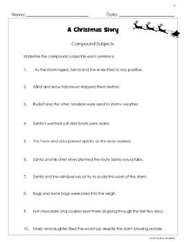 Subjects & Predicates - A Christmas Story - 4 worksheets- Grades 3-4 - Holiday!