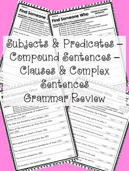 Find Someone Who: Compound and Complex Sentence Grammar Review