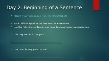 Subjects, Predicates, and Capitalzation PowerPoint
