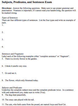 Subjects, Predicates, and Sentences Exam and Key