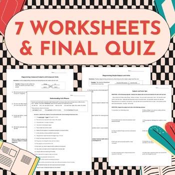 Subjects & Verbs Grammar Mini Unit (Sentence Diagramming Worksheets, PPTs, Quiz)