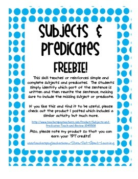 Subjects and Predicate FREEBIE