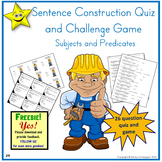 Sentence Construction Quiz and Challenge Game - Subjects and Predicates