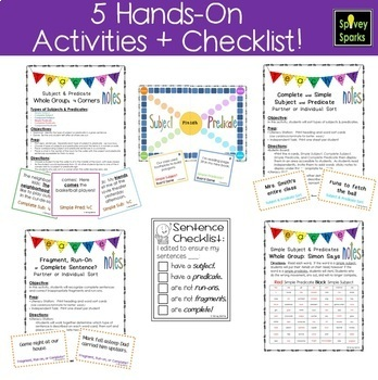 Subjects and Predicates Worksheets